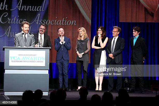 Actor Bryan Cranston showrunner Vince Gilligan actor Aaron Paul director Michelle MacLaren actress Betsy Brandt executive producer Mark Johnson and...