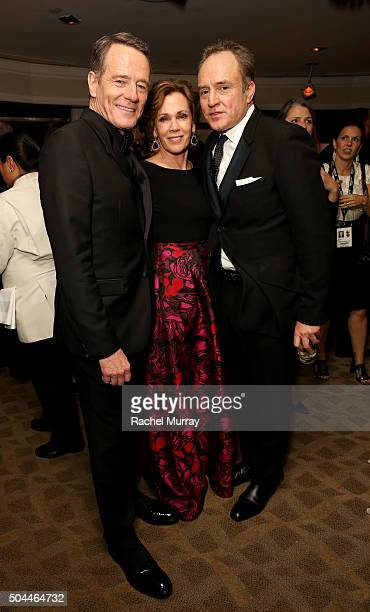 Actor Bryan Cranston wife Robin Dearden and actor Bradley Whitford attend Amazon's Golden Globe Awards Celebration at The Beverly Hilton Hotel on...