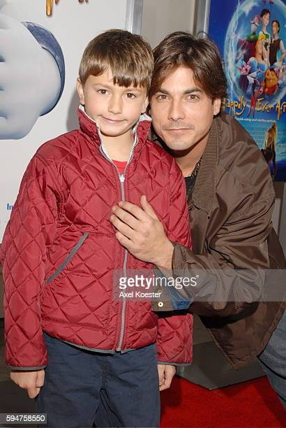 Actor Bryan Dattilo and his son Gabriel arrive at the Los Angeles premiere of the movie 'Happily N'Ever After' at Mann's Festival Theater in Westwood