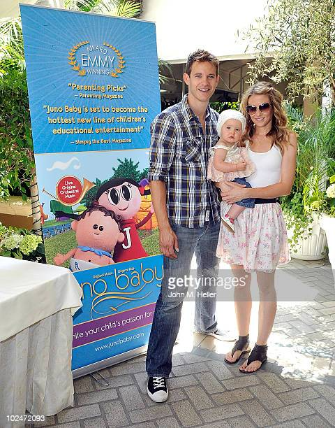 Actor Bryce Johnson Charlie johnson and Dawn Johnson attend the launch of Juno Baby an Emmy Award winning series of children's products which seek to...