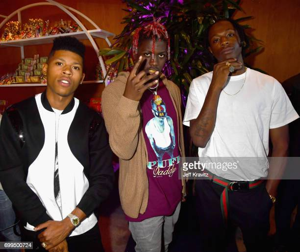Actor Bryshere Y Gray rappers Lil Yachty and Joey Badass attend the Los Angeles Premiere of Apple Music's CAN'T STOP WON'T STOP A BAD BOY STORY at...