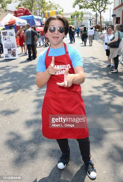 Actor Bryson Robinson participates in The Los Angeles Mission's End Of Summer Art And Education Fair held at Los Angeles Mission on August 11 2018 in...