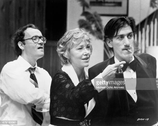 Actor Buck Henry actress Audra Lindley and actor Paul Benedict in a scene from the Universal Studio movie Taking Off circa 1971