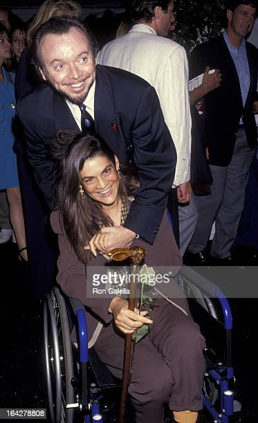 Actor Bud Cort and Aileen Getty attend the screening of The Band Played On on August 31 1993 at the Academy Theater in Beverly Hills California