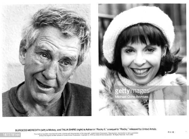 Actor Burgess Meredith and actress Talia Shire on set of the United Artist movie Rocky II in 1979