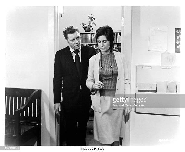 Actor Burt Lancaster and actress Susan Clark on the set of the Universal Pictures movie The Midnight Man in 1974