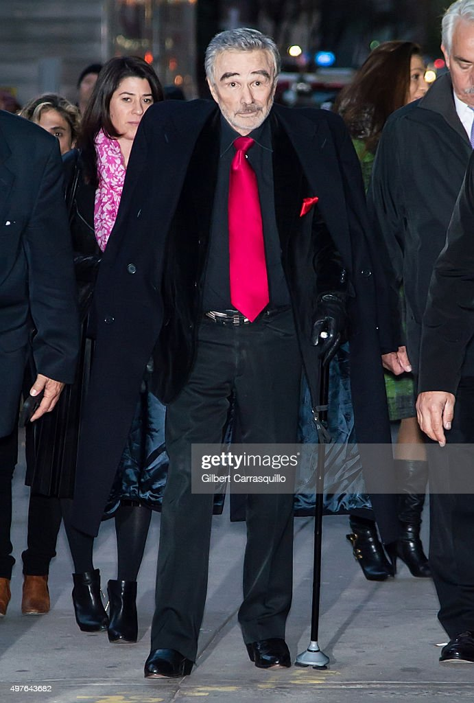 Actor Burt Reynolds is seen arriving at The Late Show with Stephen Colbert taping outside Ed Sullivan Theater on November 17, 2015 in New York City.