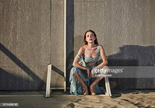 Actor businesswoman fashion designer and singer Lindsay Lohan is photographed for the Times on July 14 2018 in Mykonos Greece