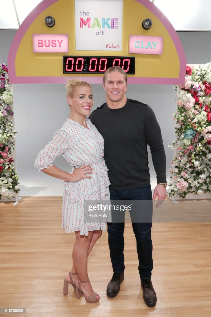 Actor Busy Philipps (L) and NFL player Clay Matthews III behind the scenes of Making with Michaels at Stage THIS on March 2, 2017 in Sun Valley, California.