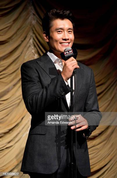 Actor ByungHun Lee introduces a Film Independent At LACMA Screening Of Masquerade at Bing Theatre At LACMA on September 14 2012 in Los Angeles...
