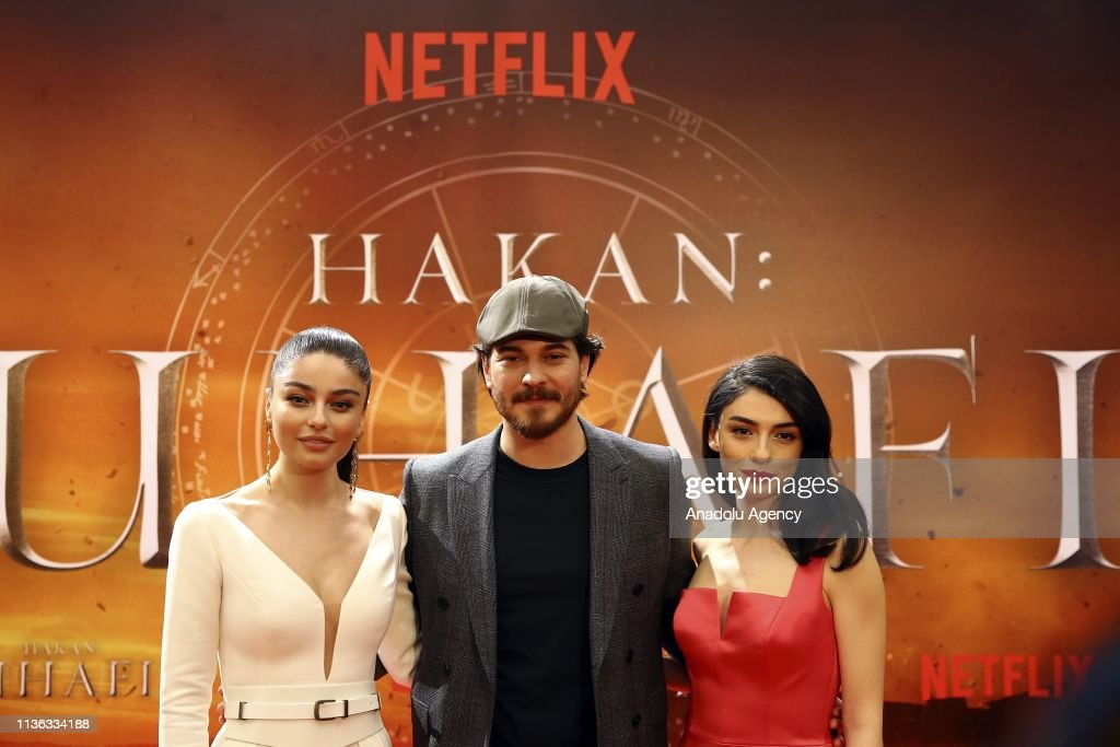 Actor Cagatay Ulusoy actresses Hazar Erguclu and Ayca Aysin Turan