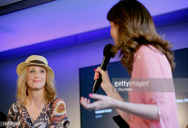 Actor Caissie Levy of Ghost the Musical joins journalist Shanon Cook onstage during a QA at the Apple Store West 14th Street on May 8 2012 in New...