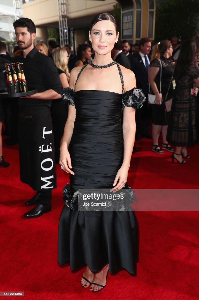 Actor Caitriona Balfe celebrates The 75th Annual Golden Globe Awards with Moet & Chandon at The Beverly Hilton Hotel on January 7, 2018 in Beverly Hills, California.