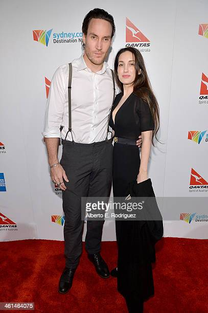 Actor Cal Mulvey and Rachel Thomas attend the Qantas Spirit Of Australia Party on January 8 2014 in Beverly Hills California