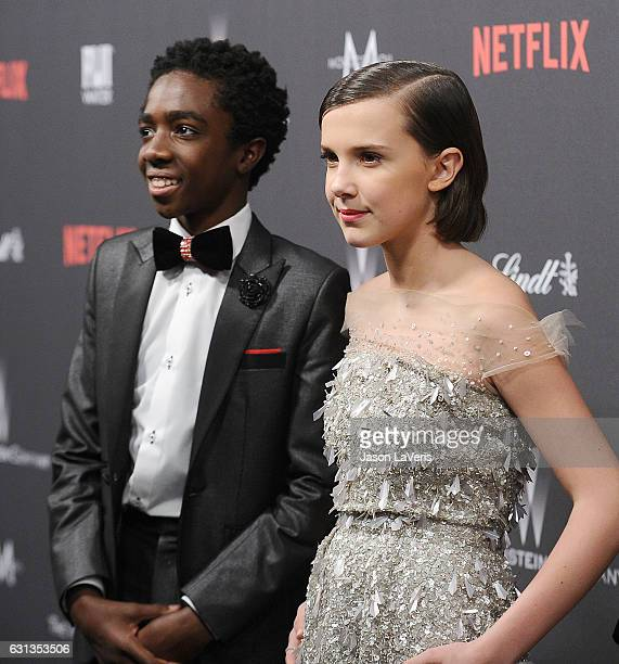 Actor Caleb McLaughlin and actress Millie Bobby Brown attend the 2017 Weinstein Company and Netflix Golden Globes after party on January 8 2017 in...