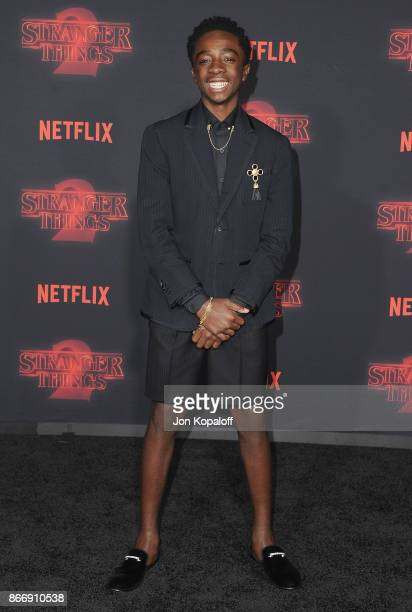 Actor Caleb McLaughlin arrives at the premiere of Netflix's 'Stranger Things' Season 2 at Regency Bruin Theatre on October 26 2017 in Los Angeles...
