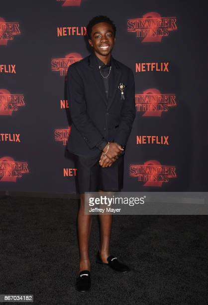 Actor Caleb McLaughlin arrives at the Premiere Of Netflix's 'Stranger Things' Season 2 at Regency Westwood Village Theatre on October 26 2017 in Los...
