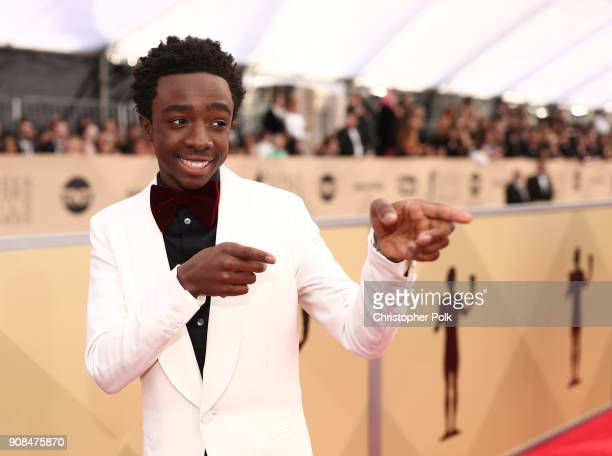 Actor Caleb McLaughlin attends the 24th Annual Screen Actors Guild Awards Trophy Room at The Shrine Auditorium on January 21 2018 in Los Angeles...