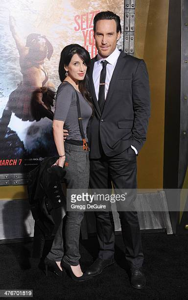 Actor Callan Mulvey and wife Rachel Thomas arrive at the 300 Rise Of An Empire Los Angeles premiere at TCL Chinese Theatre on March 4 2014 in...