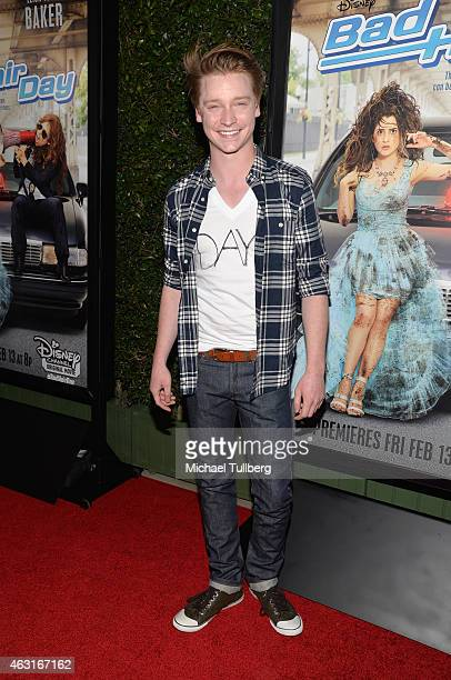 Actor Calum Worthy attends the Los Angeles premiere of the Disney Channel Original Movie 'Bad Hair Day' at Walt Disney Studios on February 10 2015 in...