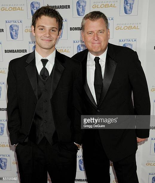 Actor Calvin Goldspink and Joe Simpson arrive at the 17th Annual BAFTA/LA Britannia Awards at the Hyatt Regency Century Plaza Hotel on November 6...