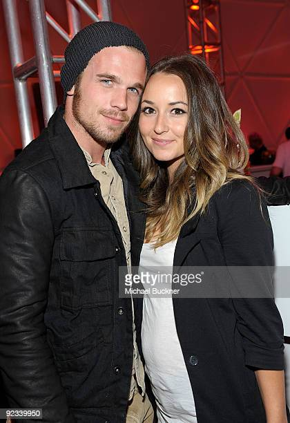 Actor Cam Gigandet and actress Dominique Geisendorff attends the BlackBerry VIP Hospitality Lounge at the U2 Concert at the Rose Bowl on October 25,...