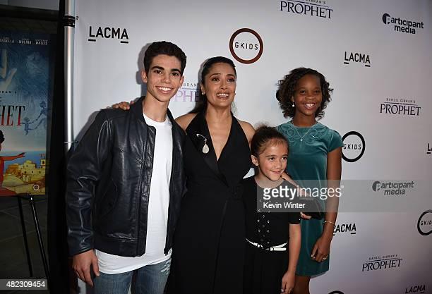 Actor Cameron Boyce, actress/producer Salma Hayek Pinault, Valentina Paloma Pinault and actress Quvenzhane Wallis attend the screening of GKIDS'...