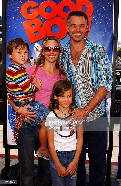 Actor Cameron Daddo his wife Alison and their children River and Lotus arrive at the MGM/UA Premiere of Good Boy at the Mann Village Theater on...