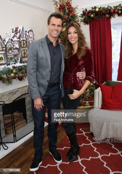 Actor Cameron Mathison and his Wife Vanessa Arevalo on the set of Hallmark's Home Family at Universal Studios Hollywood on December 04 2018 in...