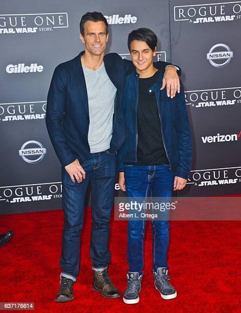 Actor Cameron Mathison and son Lucas Arthur Mathison arrive for the Premiere Of Walt Disney Pictures And Lucasfilm's Rogue One A Star Wars Story held...