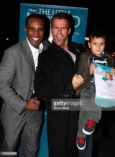 Actor Cameron Mathison and son Lucas Arthur Mathison pose with Actor Norm Lewis as they visit backstage at Disney's The Little Mermaid on Broadway at...