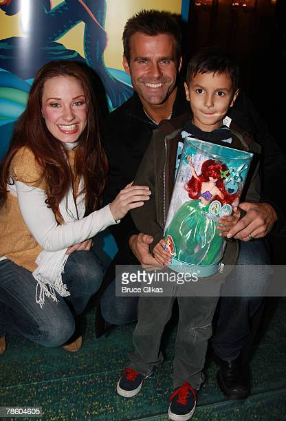 Actor Cameron Mathison and son Lucas Arthur Mathison pose with actress Sierra Boggess as he visits backstage at Disney's The Little Mermaid on...
