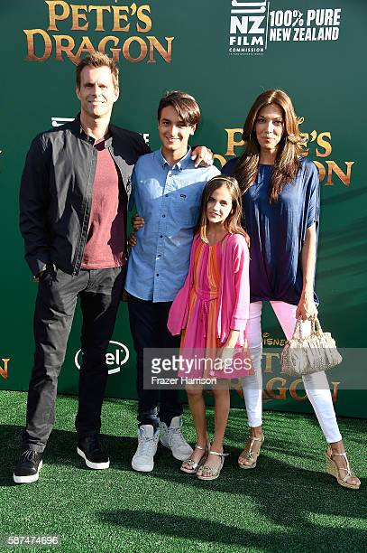 Actor Cameron Mathison Lucas Arthur Mathison Leila Emmanuelle Mathison and Vanessa Arevalo attend the premiere of Disney's Pete's Dragon at the El...