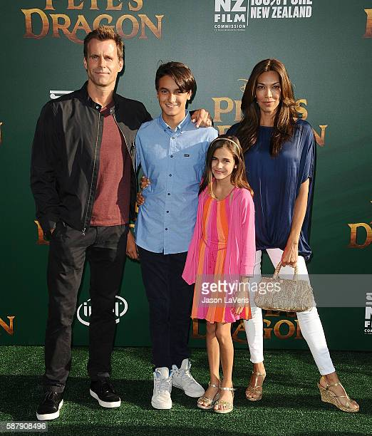 Actor Cameron Mathison Lucas Arthur Mathison Leila Emmanuelle Mathison and Vanessa Arevalo attend the premiere of Pete's Dragon at the El Capitan...