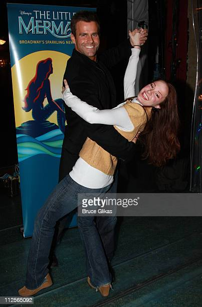 Actor Cameron Mathison poses with Actress Sierra Boggess as he visits backstage at Disney's The Little Mermaid on Broadway at The Lunt Fontanne...