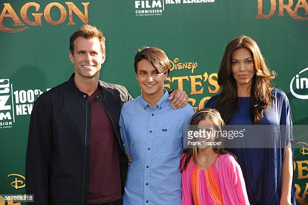 Actor Cameron Mathison wife Vanessa Arevalo son Lucas Arthur Mathison and daughter Leila Mathison attend the premiere of Disney's Pete's Dragon held...