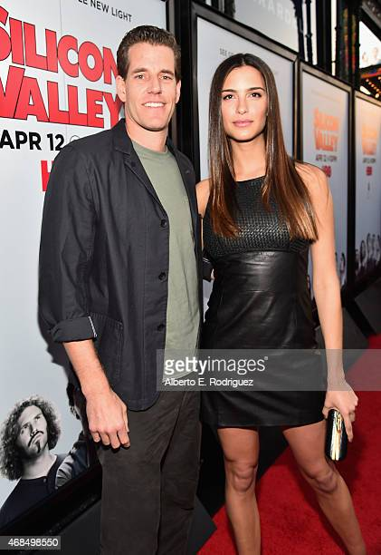 """Actor Cameron Winklevoss and model Natalia Beber attend the premiere of HBO's """"Silicon Valley"""" 2nd Season at the El Capitan Theatre on April 2, 2015..."""