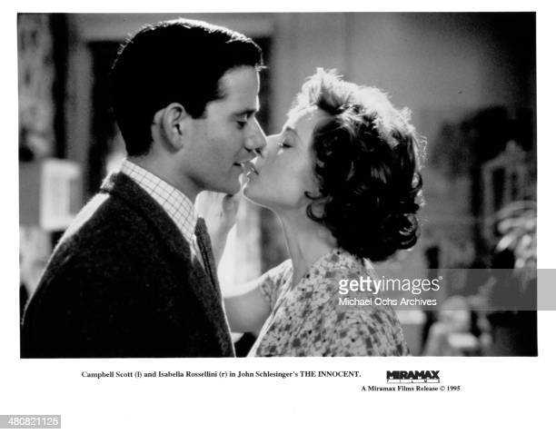 """Actor Campbell Scott and actress Isabella Rossellini in a scene from the Miramax movie """"The Innocent"""" , circa 1993."""
