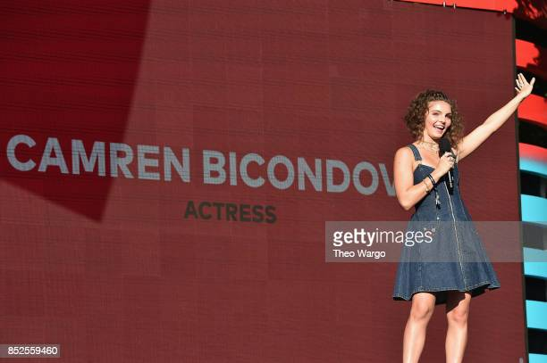 Actor Camren Bicondova speaks onstage during the 2017 Global Citizen Festival For Freedom For Justice For All in Central Park on September 23 2017 in...