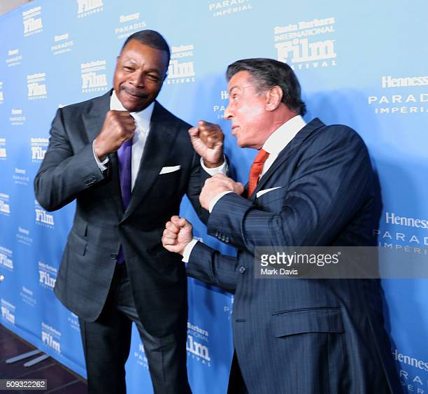 Actor Carl Weathers and Actor Sylvester Stallone attend the Montecito Award at the Arlington Theater at the 31st Santa Barbara International Film...