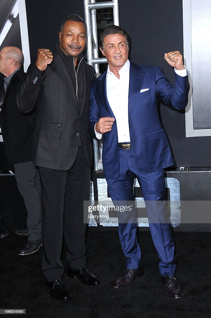 Actor Carl Weathers and actor/producer Sylvester Stallone attend the Premiere Of Warner Bros. Pictures' 'Creed' at the Regency Village Theatre on November 19, 2015 in Westwood, California.