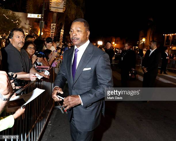 Actor Carl Weathers signs autographs at the Montecito Award at the Arlington Theater at the 31st Santa Barbara International Film Festival on...