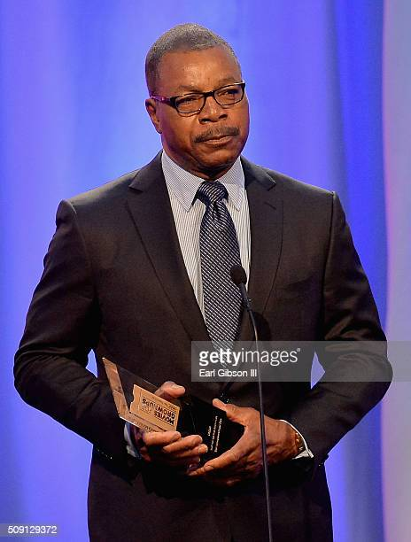 Actor Carl Weathers speaks onstage at the AARP's Movie For GrownUps Awards at the Beverly Wilshire Four Seasons Hotel on February 8 2016 in Beverly...