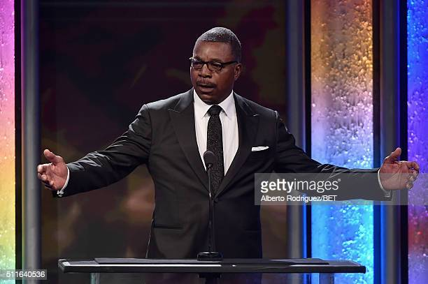 Actor Carl Weathers speaks onstage during the 2016 ABFF Awards A Celebration Of Hollywood at The Beverly Hilton Hotel on February 21 2016 in Beverly...