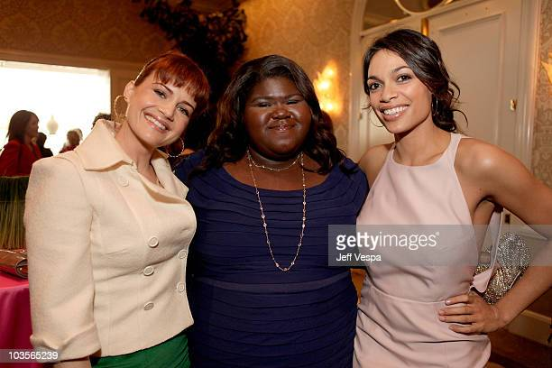 Actor Carla Gugino actor Gabourey Sidibe and actor/VDay Board Member Rosario Dawson attend VDay's 4th Annual LA Luncheon featuring a reading of Eve...