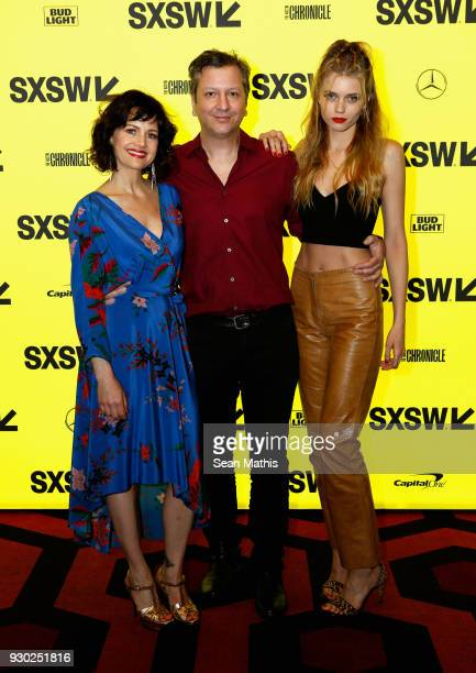 Actor Carla Gugino writer/director Sebastian Gutierrez and actor Abbey Lee attend the premiere of 'Elizabeth Harvest' during at Alamo Lamar on March...