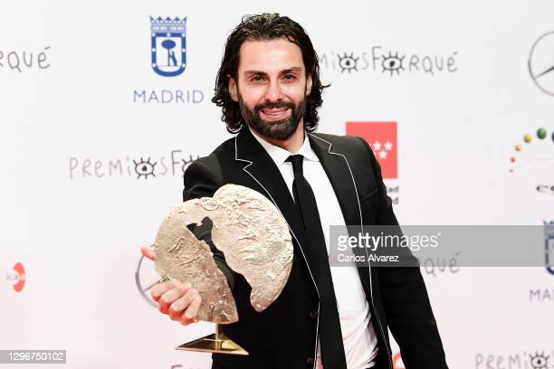 Actor Carlo D'Ursi poses in the Press Room after winning the Best Short Film during 'Jose Maria Forque Awards' 2021 at Ifema on January 16, 2021 in...
