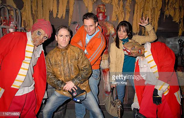 Actor Carlos Alazraqui actor Keith Collins and actress/comedian JillMichele Melean visit Knott's Scary Farm's 35th Annual Halloween Haunt held at...