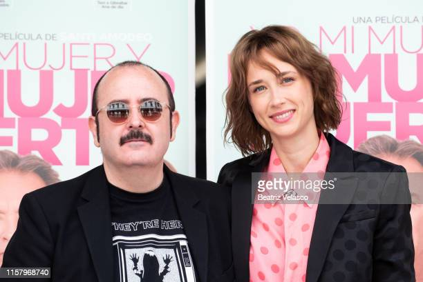 Actor Carlos Areces and actress Ingrid GarcíaJonsson attend 'Yo mi mujer y mi mujer muerta' photocall on June 24 2019 in Madrid Spain