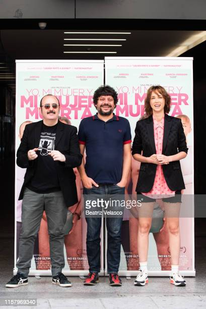 Actor Carlos Areces Director Santi Amodeo and actress Ingrid GarcíaJonsson attend 'Yo mi mujer y mi mujer muerta' photocall on June 24 2019 in Madrid...